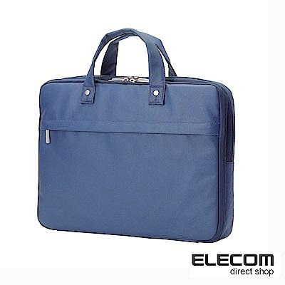 ELECOM 超薄型英倫風公事包15吋藍