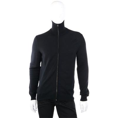 GUCCI 黑色經典織帶飾針織拉鍊外套