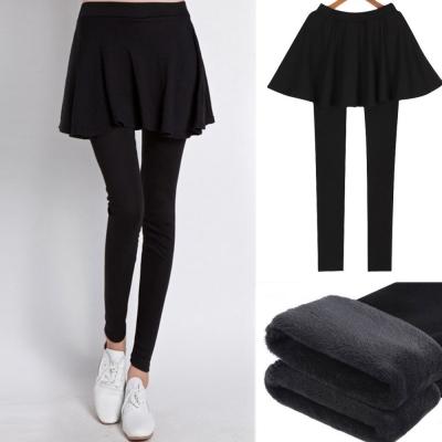 中大尺碼 抵檔寒流內裡鋪絨毛假二件荷葉裙擺拼接內搭褲(黑)XL~3L-La-Belleza