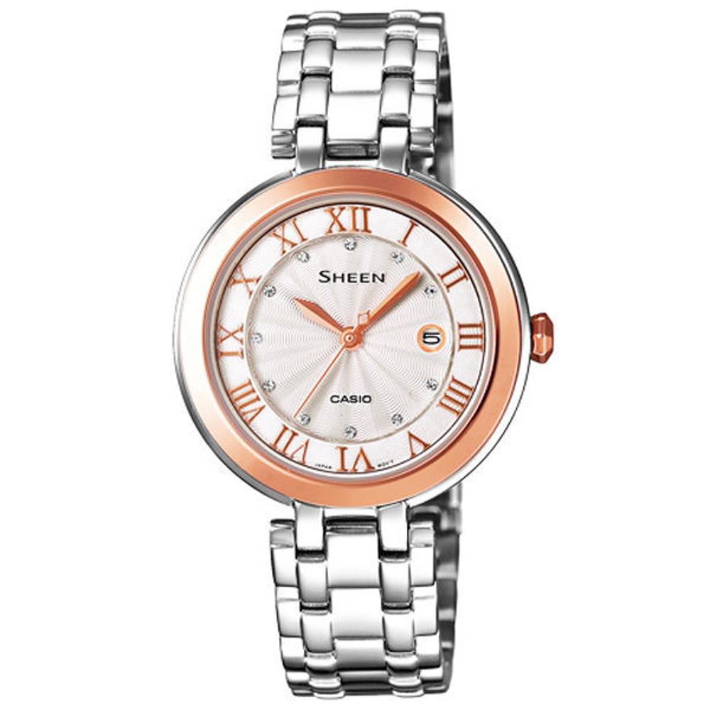 CASIO SHEEN系列 浪漫璀璨日期晶鑽腕錶(鋼帶-銀玫瑰金)-30mm