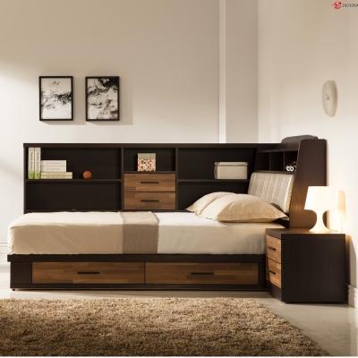 日本直人木業傢俱-BRAC積層木5尺床組加床邊櫃(176x212x107cm)免組