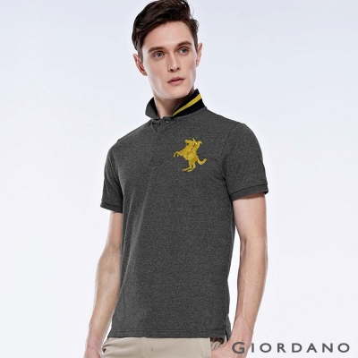 GIORDANO 男裝拿破崙刺繡彈性POLO衫- 67 中花灰