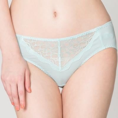 思薇爾 迷戀星光系列M-XXL蕾絲中腰三角內褲(彈珠綠)