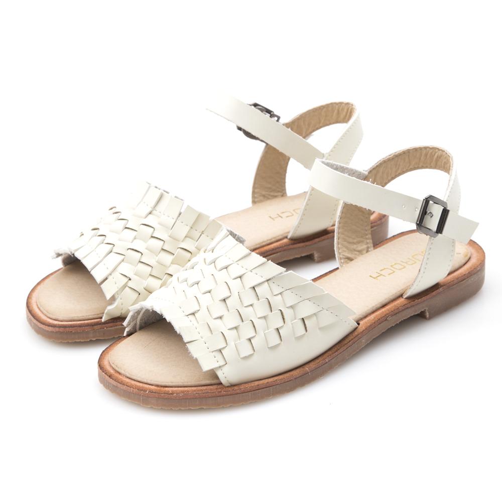 JMS-舒適寬版編織一字帶平底涼鞋-白色