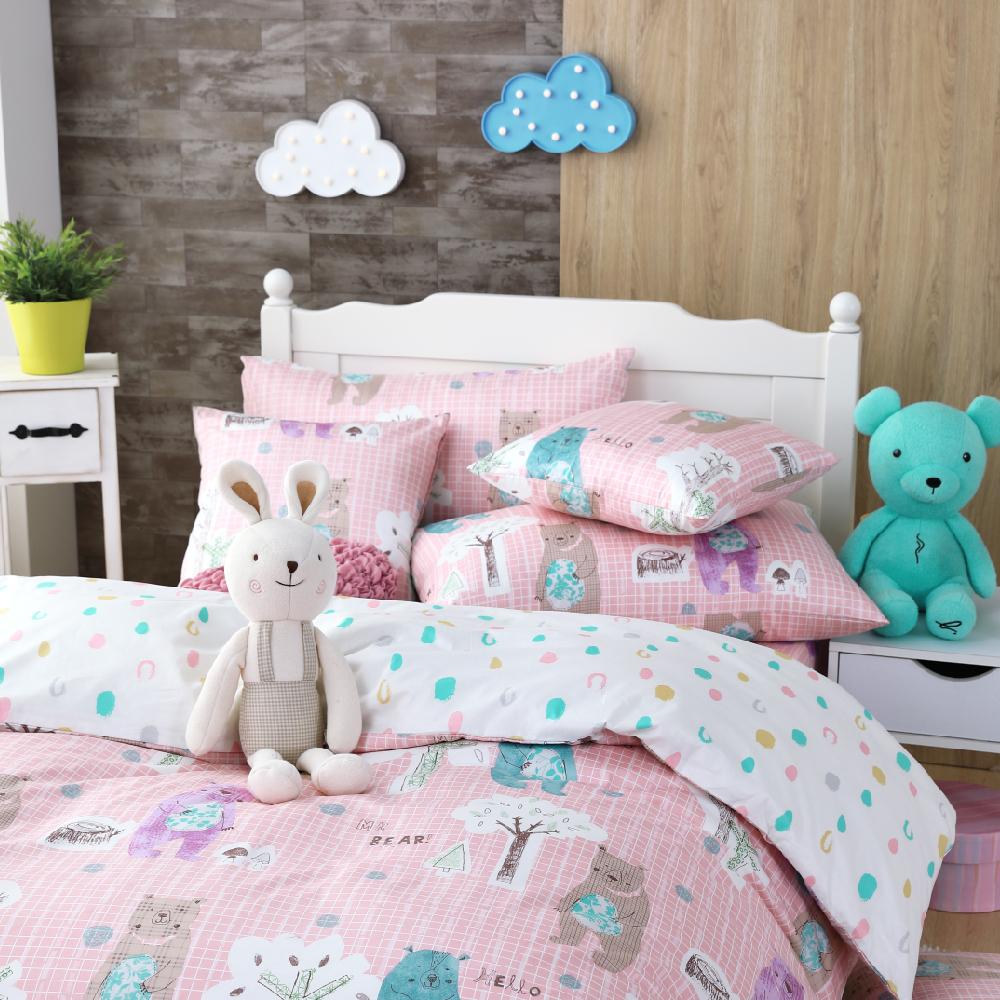 OLIVIA   小熊森林 粉  雙人全鋪棉床包冬夏兩用被套四件組 歐枕
