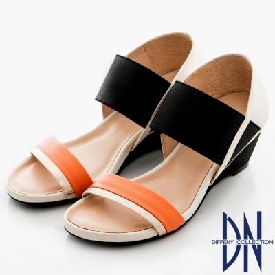 DN 法式時尚 MIT雙色羊皮一字踝靴涼鞋-米