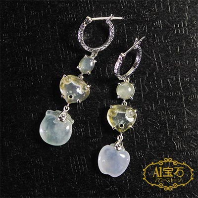 A1寶石  收藏級-冰種蜜糖翡翠耳環 附證書