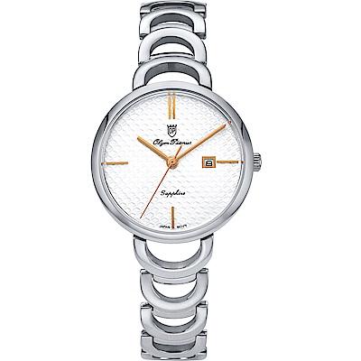 Olym Pianus 奧柏表 靜謐時光石英腕錶-玫瑰針 2490LS