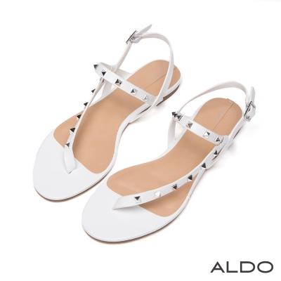 ALDO-原色不對稱金屬鉚釘繫帶夾腳涼鞋-氣質白色