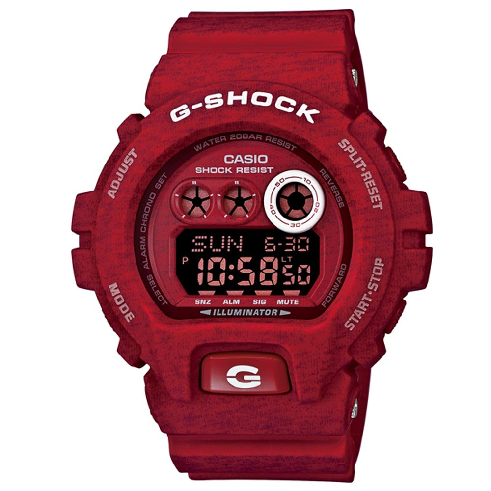 G-SHOCK 大錶徑個性潮流運動針織紋系列休閒錶(GD-X6900HT-4)-紅/53.9mm