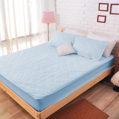 亞曼達Amanda 果漾色系100%防水床包式保潔墊-單人(粉藍色)