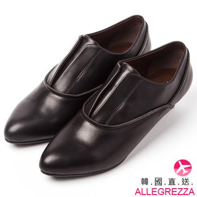 ALLEGREZZA-韓國直送-尖頭小低跟包鞋-黑