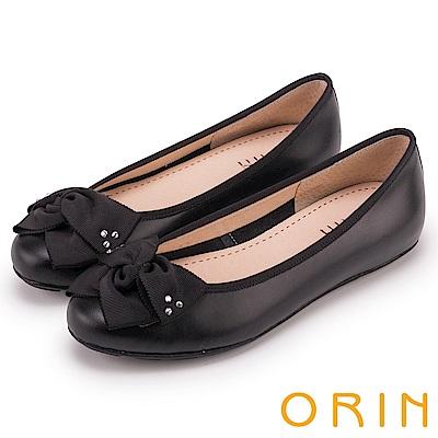 ORIN 微甜新時尚 造型交叉扭結平底娃娃鞋-黑色