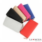 La Moda 經典設計款必備單品 防刮十字紋多功能長夾(共6色) 情人節送禮