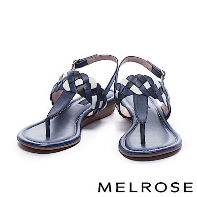 涼鞋 MELROSE 三色麻花造型T字羊皮楔型低跟涼鞋-藍