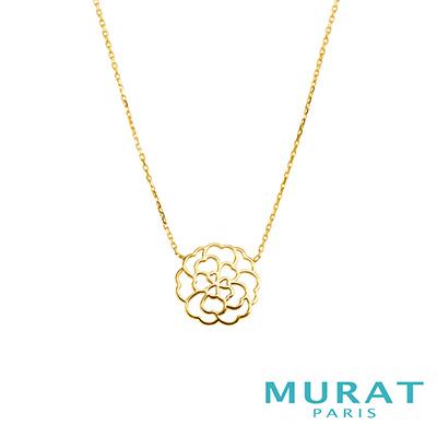 MURAT Paris米哈巴黎 9K金系列 鏤空玫瑰花項鍊