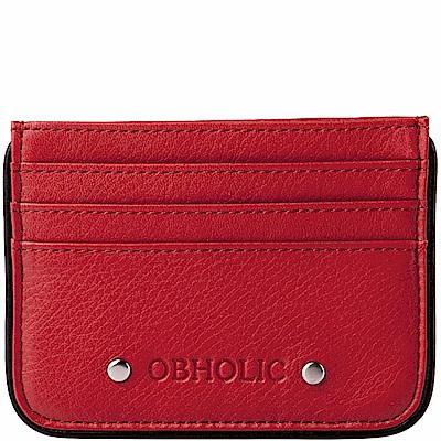 OBHOLIC 紅色牛皮票卡夾卡片套
