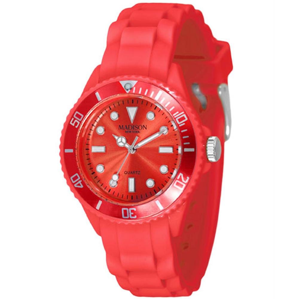 Madison NY Candy Time Mini玩色圓點系列腕錶-魔力紅/35mm