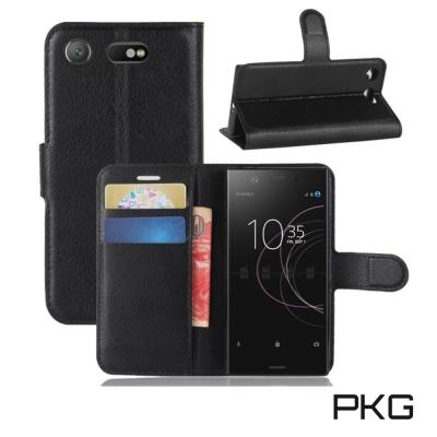 PKG SONY XZ1 側翻式皮套經典皮革-黑色