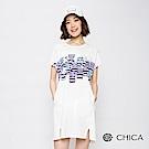 CHICA 條紋貓樂園前開岔口袋長版上衣(3色)