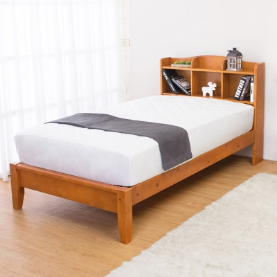 Bernice-克查3.5尺實木書架單人床架