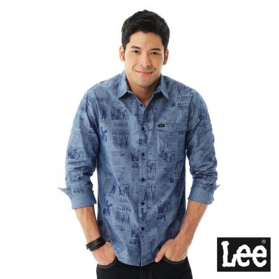 Lee-INDIGO滿版印刷長袖襯衫-男款-藍