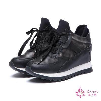 達芙妮DAPHNE-休閒鞋-內增高金屬色綁帶厚底運