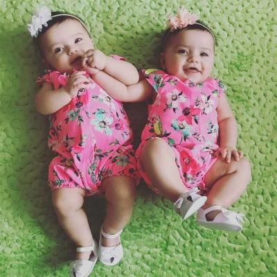 Carters 美國 粉色花卉小鳥短袖連身衣包屁衣