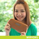 MIRYOKU-經典復古皮革系列 / 百搭拉鍊造型長夾- 駝