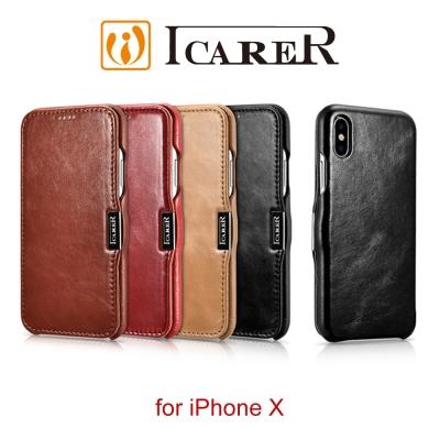 ICARER 復古系列 iPhone X 磁扣側掀 手工真皮皮套