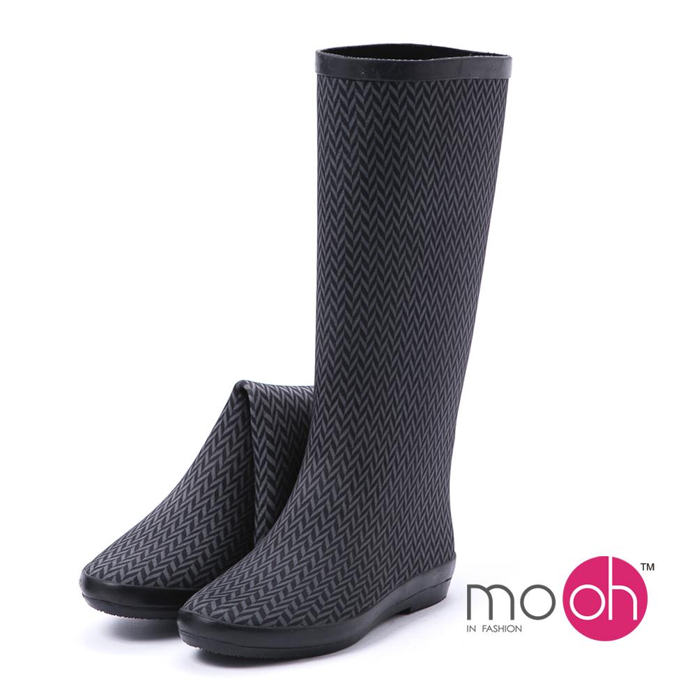 mo.oh -愛雨天-千鳥紋潛水布輕便摺疊長筒雨鞋