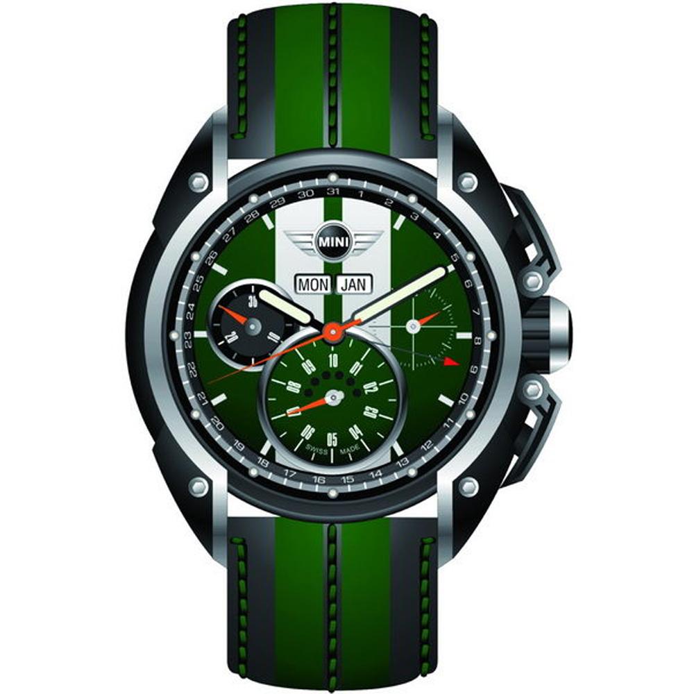 MINI Swiss Watches Cooper賽車概念三眼計時手錶-綠X黑/45mm