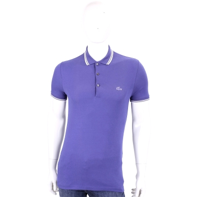 LACOSTE Slim Fit 紫色撞色領口短袖POLO衫(男款)