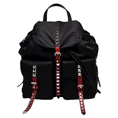 PRADA 經典三角鐵牌LOGO雙色皮革飾邊鉚釘鑲嵌束口穿釦/磁釦雙口袋尼龍後背包-黑X紅