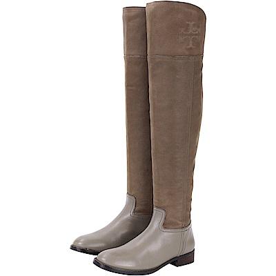 TORY BURCH SIMONE OVER 灰棕色拼接設計膝上長靴(展示品)
