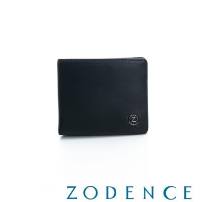 ZODENCE-MAN-義大利羊皮系列兩折短夾-黑