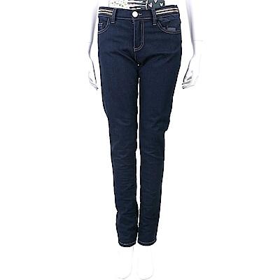 CLASS roberto cavalli 鉚釘腰飾深藍窄口單寧牛仔褲