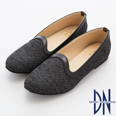 DN 時尚舒適 針織混色平底樂福鞋-灰