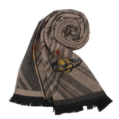 Vivienne Westwood 彩色行星大斜格紋混色羊毛圍巾-駝色