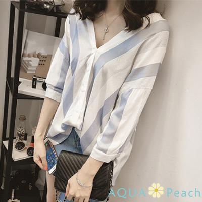 撞色寬條V領寬鬆襯衫 (共二色)-AQUA Peach