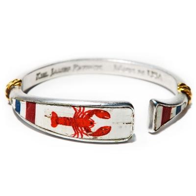 Kiel James Patrick 美國手工船錨 龍蝦圖騰鑲天然軟木可調節手環