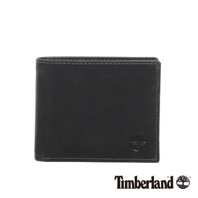 Timberland 男款黑色多夾層經典款皮革短夾
