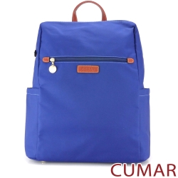 CUMAR-輕量防潑水尼龍大方後背包-藍