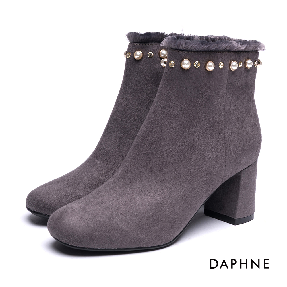 達芙妮DAPHNE 短靴-珍珠鑽飾流蘇絨布方頭粗跟踝靴-灰