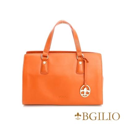 義大利BGilio-牛皮知性氣質手提包-橘色 1942.002A-11