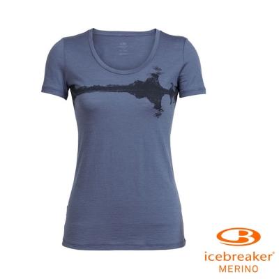 【Icebreaker】女 美麗諾羊毛 Tech U領短袖休閒上衣_藍灰