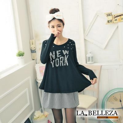 【La Belleza 中大尺碼】 亮面皮質黑白千鳥格紋圓裙