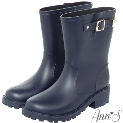 Ann'S雨天心情-時尚金扣帶中筒雨靴-深藍