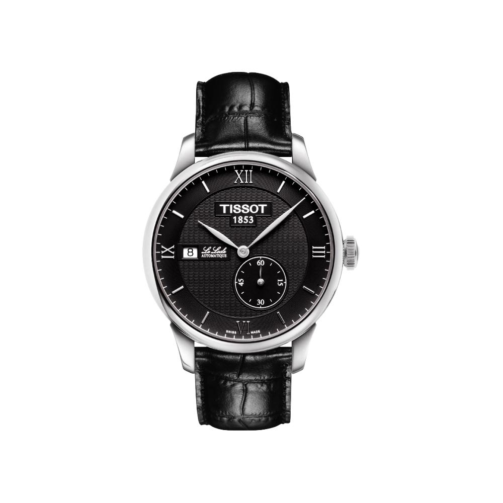 TISSOT Le Locle 力洛克獨立小秒針機械腕錶-黑/39mm