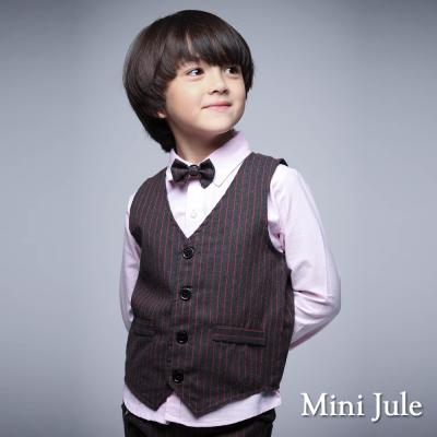 Mini Jule 童裝-背心 細直條排釦背心(紅條)